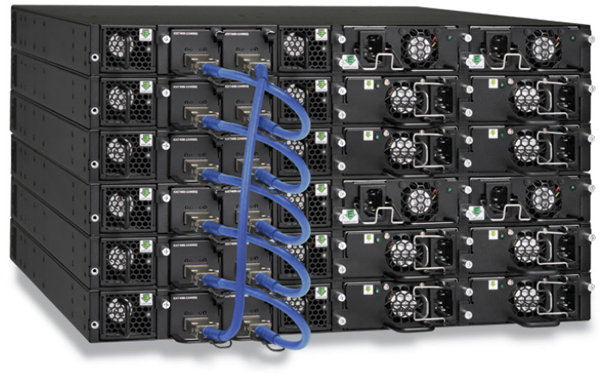 Up to 12 Brocade ICX 7450 switches can be stacked together using two full-duplex QSFP+ 40 Gbps ports that provide a fully redundant backplane with 960 Gbps of stacking bandwidth.
